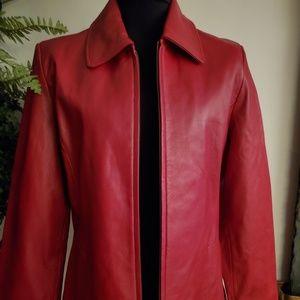Liz Claiborne Genuine Red Leather Jacket - Size LP